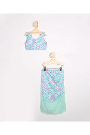 Disney Menina Bikini - Biquíni com Cauda Infantil Ariel com Proteção UV50+ Verde Água