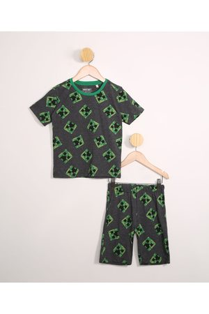 Minecraft Menino Pijamas - Pijama Infantil Manga Curta Cinza Mescla Escuro