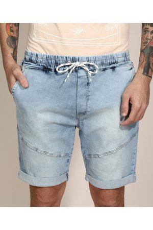 Clockhouse Bermuda Slim Jeans Marmorizada com Recorte e Barra Dobrada Azul Claro