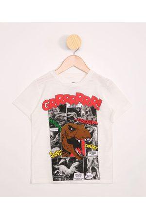 Universal Menino Camisolas de Manga Curta - Camiseta Infantil Manga Curta Jurassic World Off White