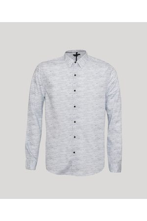 ANGELO LITRICO Homem Camisa Casual - Camisa Tradicional Rajada Manga Longa Azul Claro