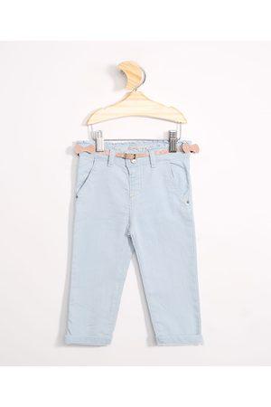 BABY CLUB Menina Calça Jeans Reta - Calça Infantil Jeans Reta com Cinto Claro