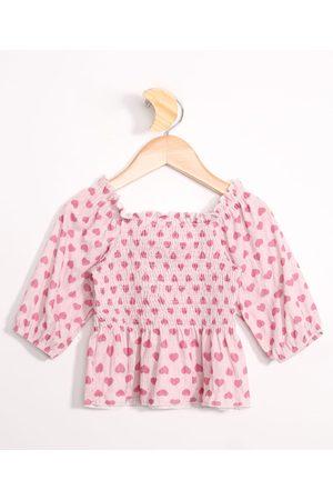 PALOMINO Menina Blusa - Blusa Infantil Cropped Estampada de Corações Manga Bufante Rosa