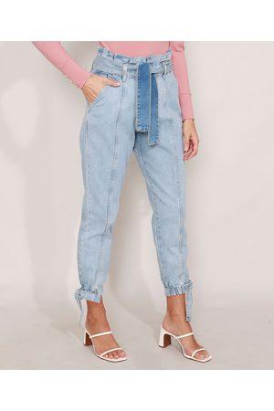 YESSICA Mulher Cintura Alta - Calça Clochard Jogger Jeans com Recortes e Faixa para Amarrar Cintura Super Alta Claro