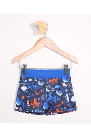 BABY CLUB Menino Short de Banho & Sunga - Sunga Infantil Boxer Estampada de Polvo com Proteção UV50+ Azul Escuro