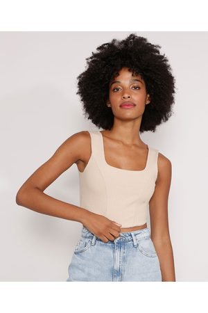 Clockhouse Top Cropped Corset Canelado Alça Larga Decote Reto