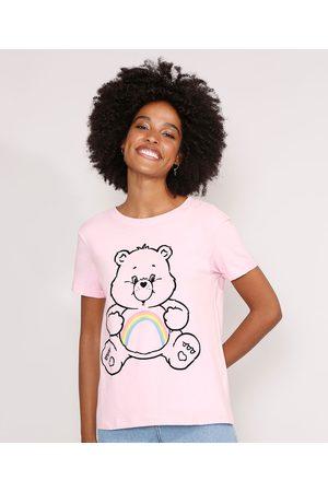 Ursinhos Carinhosos Mulher Camiseta - Camiseta Ursinhos Carinhoso Manga Curta Decote Redondo Claro