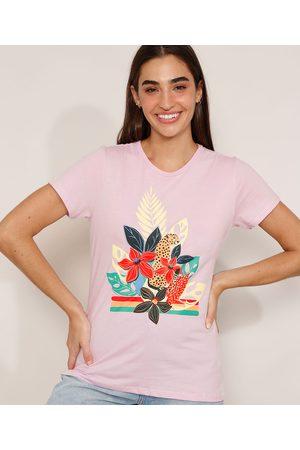 YESSICA Camiseta de Algodão Onça com Flores Manga Curta Decote Redondo Lilás