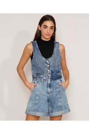 Clockhouse Colete Cropped Jeans Marmorizado com Fivela Decote Redondo Médio