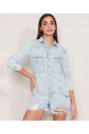 YESSICA Mulher Macacão - Macaquinho Jeans com Bolsos e Botões Barra Desfiada Manga Longa Claro