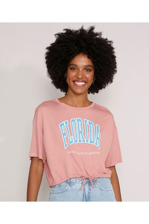"""Clockhouse Mulher Camiseta - Camiseta Cropped Florida"""" com Cordão Manga Curta Decote Redondo """""""