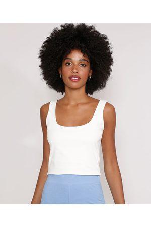 Basics Regata Feminina Cropped Básica Branca