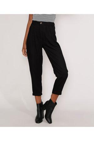 Basics Mulher Calça Cintura Alta - Calça Reta de Viscose Básica Cintura Alta com Pregas Preta