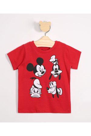 Disney Menino Camisolas de Manga Curta - Camiseta Infantil de Algodão Mickey e Pateta Manga Curta Vermelha