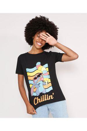 "Disney Mulher Camiseta - Camiseta Stitch Chillin'"" Manga Curta Decote Redondo Preta"""