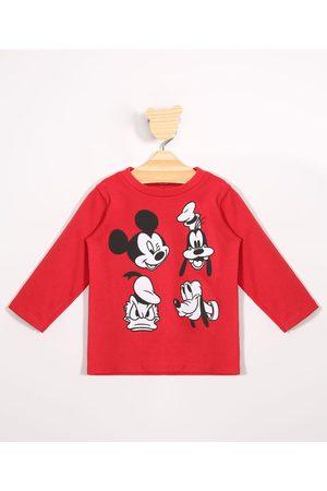 Disney Menino Camisolas de Manga Larga - Camiseta Infantil de Algodão Mickey e Amigos Manga Longa Vermelha