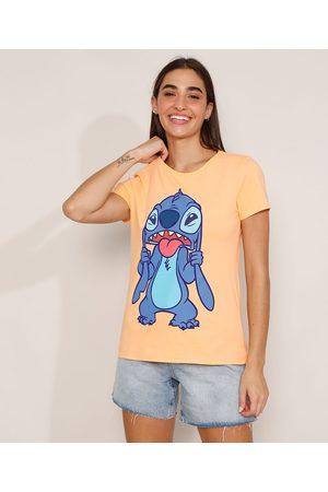 Disney Mulher Camiseta - Camiseta de Algodão Stitch Manga Curta Decote Redondo