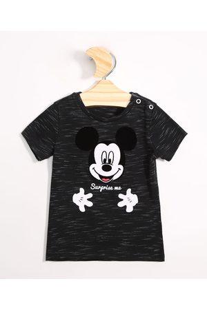 Disney Menino Camisolas de Manga Curta - Camiseta Infantil de Algodão Mickey Manga Curta Preta