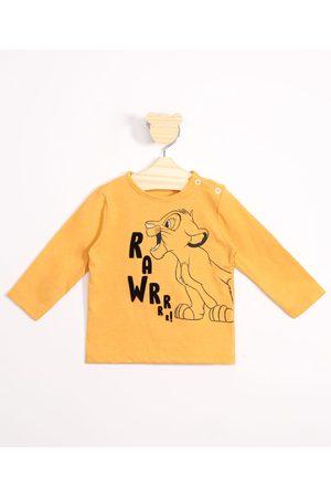Disney Menino Camisolas de Manga Larga - Camiseta Infantil Simba O Rei Leão Flocado Manga Longa Amarela