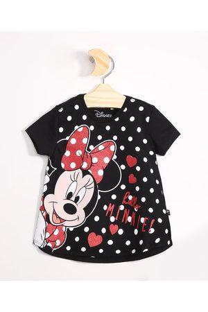 Disney Menina Blusas de Manga Curta - Blusa Infantil de Algodão Minnie Manga Curta Preta