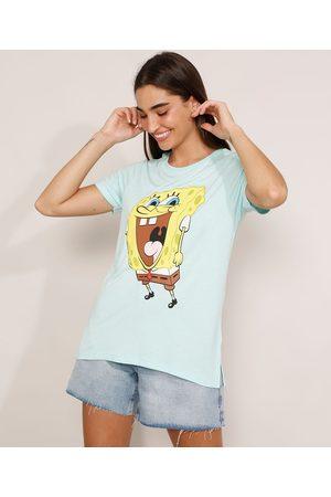 Nickelodeon Mulher Camiseta - Camiseta Bob Esponja Manga Curta Decote Redondo Claro