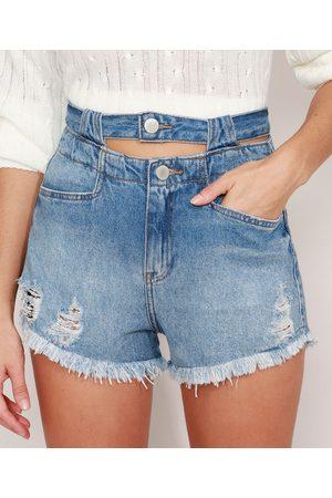 Clock House Mulher Short - Short Jeans Destroyed com Cós Duplo Cintura Super Alta Médio