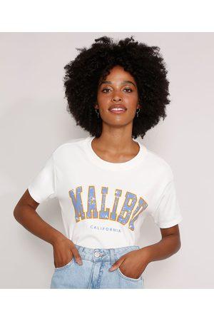 """Clock House Mulher Camiseta - Camiseta Ampla Malibu"""" Manga Curta Decote Redondo Off White"""""""