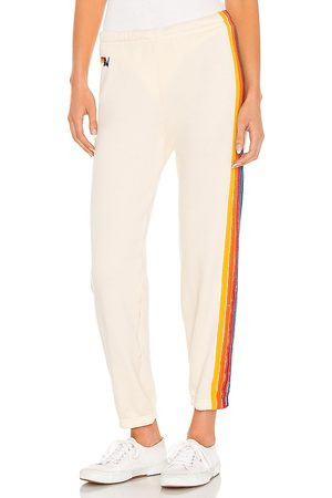 AVIATOR NATION 5 Stripe Sweatpant in Ivory. - size L (also in M, S, XS)