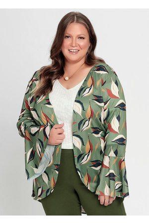 Mink Mulher Quimono - Kimono Estampa Folhas Amplo e Alongado