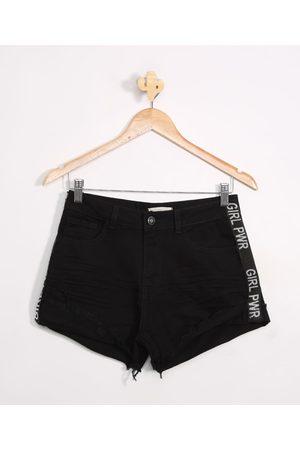Fifteen Menina Bermuda - Short Jeans Juvenil Destroyed com Estampa Lateral