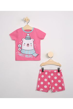BABY CLUB Menina Pijamas - Pijama Infantil Urso Polar Manga Curta Rosa