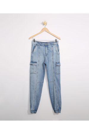 Miss Fifteen Menina Calças Cargo - Calça Juvenil Jeans Jogger Cargo com Recortes Médio
