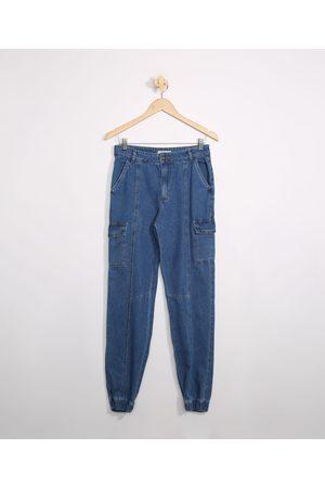Miss Fifteen Calça Juvenil Jeans Jogger Cargo com Recortes Escuro