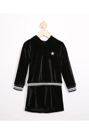 PALOMINO Menina Vestido Longo - Vestido Infantil de Veludo com Bordado de Estrela Manga Longa e Capuz