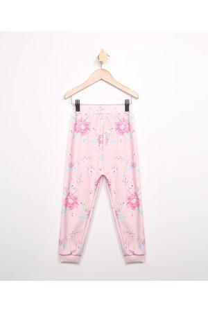 PALOMINO Menina Calça Jogger - Calça Infantil Jogger Estampada Floral Rosa