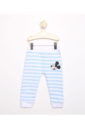Disney Menino Moletom - Calça Infantil de Moletom Mickey Listrado Azul Claro