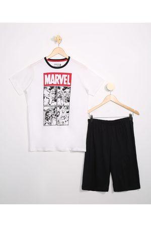 Marvel Menino Pijamas - Pijama Juvenil Manga Curta Off White