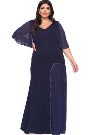 Pianeta Mulher Vestido Longo - Vestido Almaria Plus Size Bordado