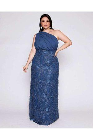 Pianeta Vestido Almaria Plus Size Longo Renda