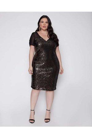 Pianeta Vestido Almaria Plus Size Curto Paetê Pret
