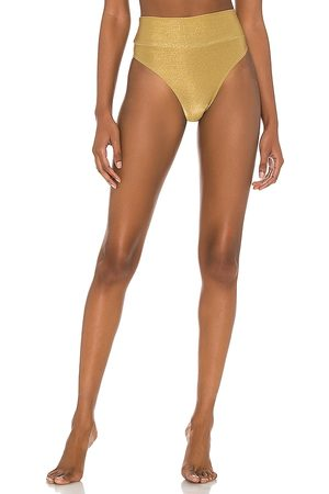 Shani Shemer Oro High Rise Bikini Bottom in Metallic . - size L (also in M, S, XS)