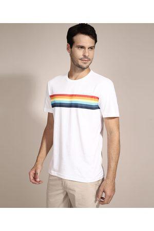 Suncoast Homem Camisolas de Manga Curta - Camiseta com Listras Manga Curta Gola Careca Branca