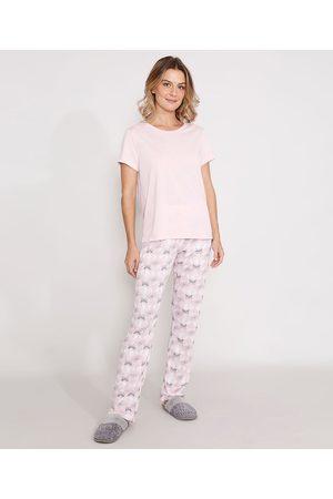 """Design Íntimo Mulher Pijamas - Pijama Good Night"""" Manga Curta Rosa Claro"""""""