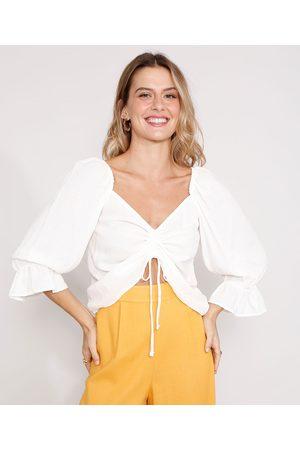 YESSICA Mulher Blusa - Blusa Cropped de Viscose Maquinetada com Franzido Manga Bufante Decote Coração Off White