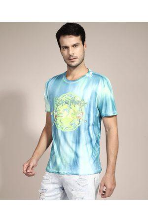 Warner Bros Homem Camisolas de Manga Curta - Camiseta Rick and Morty Estampada Tie Dye Manga Curta Gola Careca