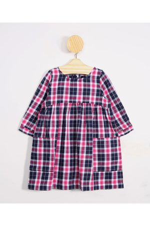 BABY CLUB Vestido Infantil Xadrez Manga Longa Decote Redondo + Meia Calça Rosa Escuro