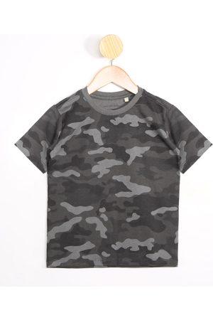 PALOMINO Menino Camisolas de Manga Curta - Camiseta Infantil Camuflado Manga Curta Gola Careca Cinza Claro