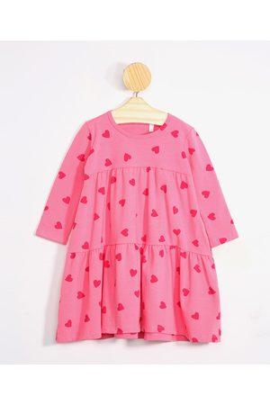 BABY CLUB Menina Vestido Longo - Vestido Infantil de Corações Manga Longa Decote Redondo Pink