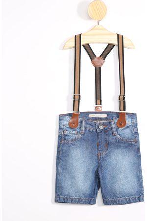 BABY CLUB Bermuda Infantil Reta Jeans com Suspensório Escuro