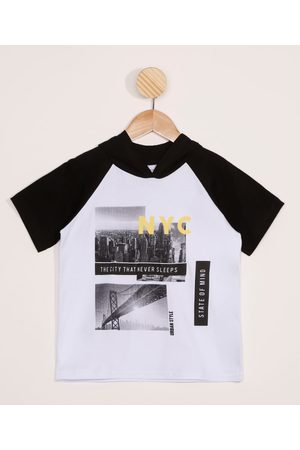 "PALOMINO Camiseta Infantil Raglan Street NYC"" Manga Curta com Capuz Branca"""